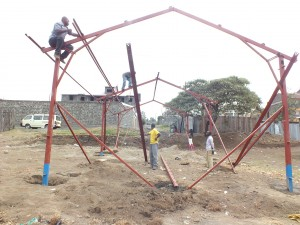 The building frame being erected.